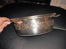 VINTAGE SILVER PLATED PIERCED BODY DISH WITH HANDLES & PHOENIX GLASS OVEN DISH